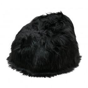 Pouf en Peau de mouton islandais noir