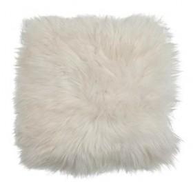 Galette de chaise en peau de mouton blanc - Nettoyer peau de mouton ...