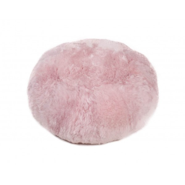 Pouf en mouton d'Europe rose
