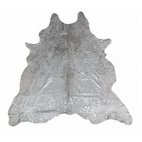 Peau de vache pailletée dévorée argentée