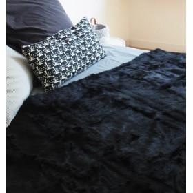 Dessus de lit en fourrure de lapin noir