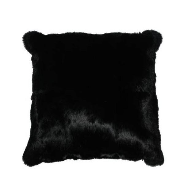 coussin en peau de lapin noir. Black Bedroom Furniture Sets. Home Design Ideas