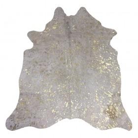 Peau de vache pailletée dévorée dorée