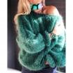 Pull en laine mohair vert foncé