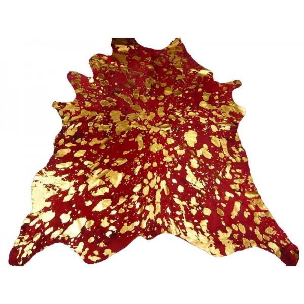 Peau de Vache dévorée dorée rouge