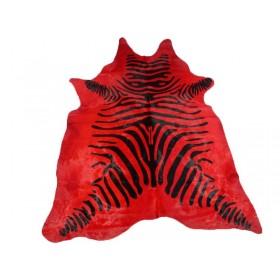 Peau de vache zébrée rouge