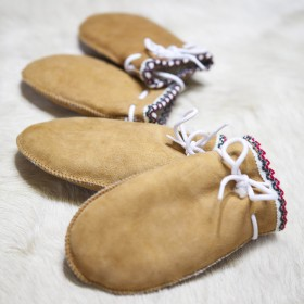 Moufles enfant en Peau doublées 100% laine