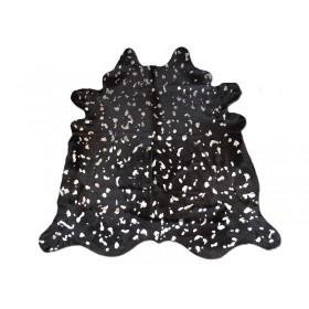 Peau de vache dévorée argentée noir