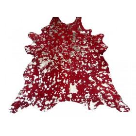 Peau de Vache rouge dévorée argentée