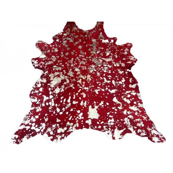 Peau de vache dévorée argentée rouge