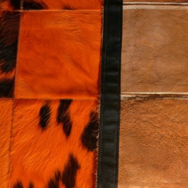 Tapis de Vache Patchwork Orange