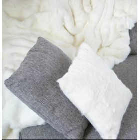 Housse coussin Lapin Blanc recto/verso