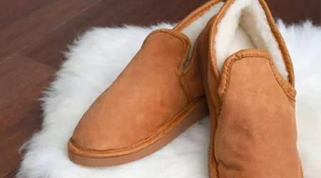 Pantoufles en peaux